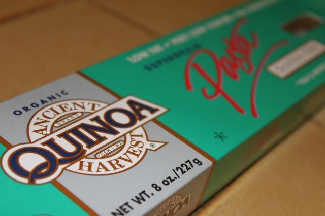 Yum... Quinoa pasta.  Tastes like semolina pasta...