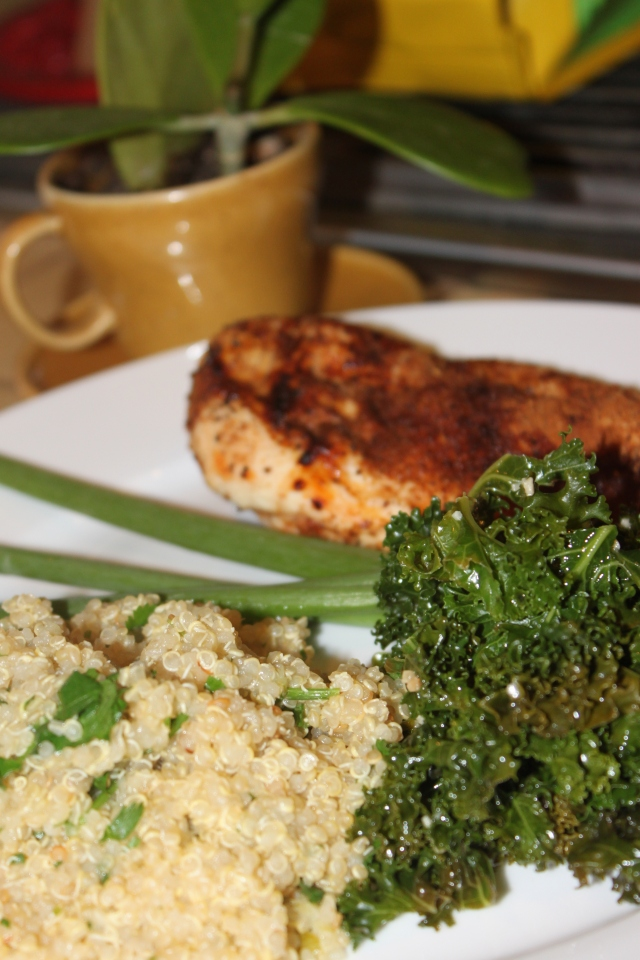 Blackened chicken and cilantro quinoa