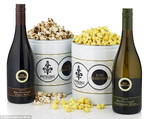 Pinot Noir Chocolate Drizzle and Sauvignon Blanc Kettle wine popcorn