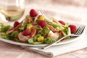 Caribbean shrimp rasberry avocado salad