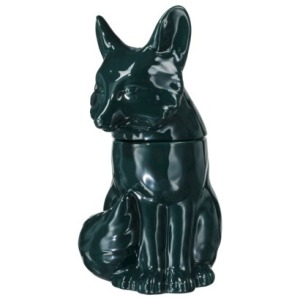 "This teal cookie jar from Target looks a lot better in real life. Does the fox say ""Cookie, cookie, cookie, cookie...?"""
