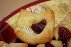 Brie bites with cranberry  jam