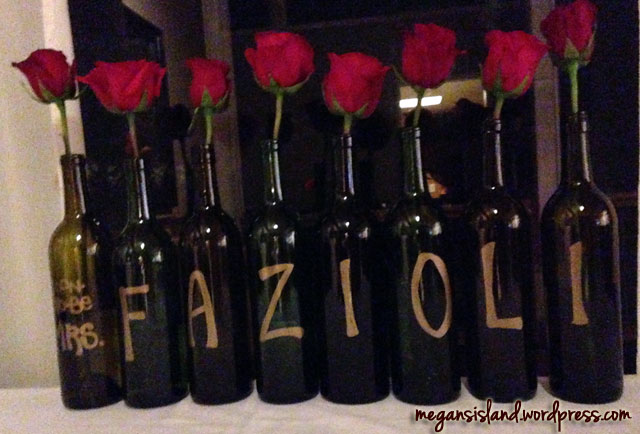 Wine bottle party decor | Megan's Island Blog