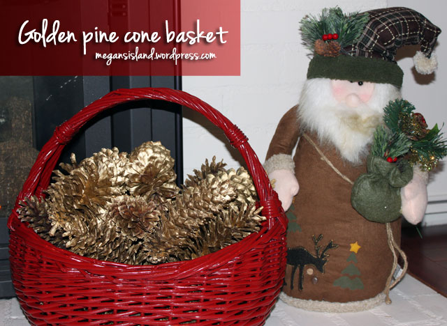 Golden pine cone basket | Megan's Island Blog