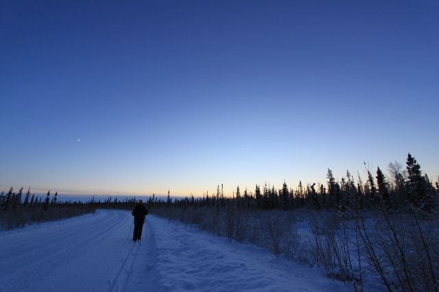 Sunset cross-country skiing. Pretty, isn't it?