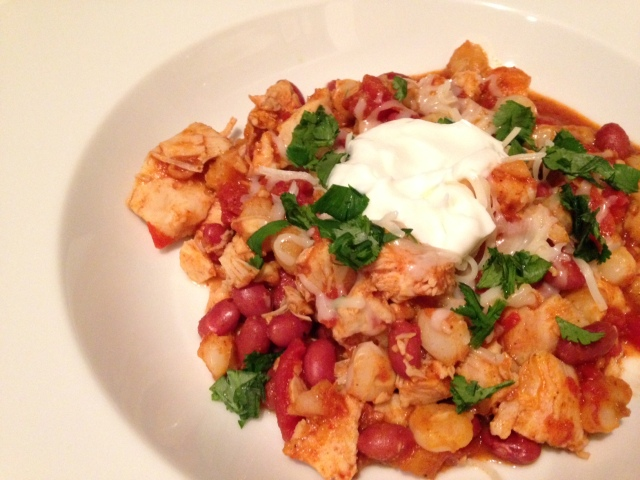 Delicious... Hominy chicken chili