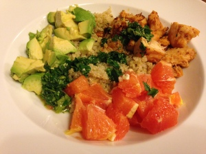 Chicken, quinoa, avocado and oranges
