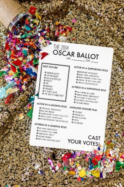 Studio DIY 2014 Oscar ballot