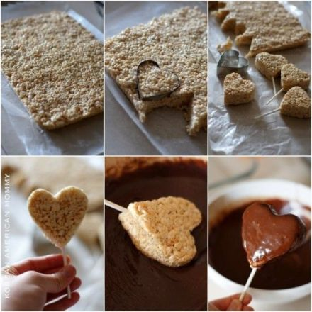 Chocolate heart rice krispie treats. Don't these look amazing!?