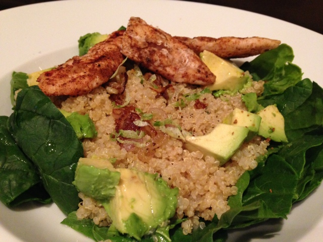 Quinoa, spinach, chicken, avocado | Megan's Island Blog