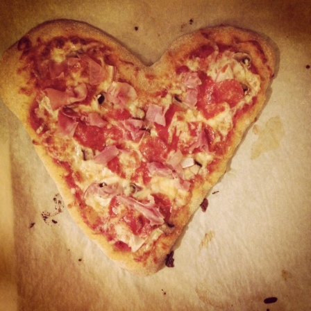 Romantic Valentine's Day pizza