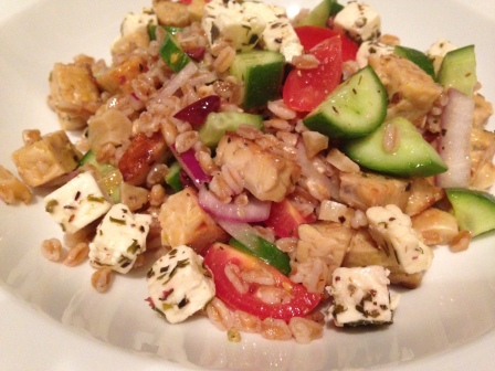 Faro Greek salad with tempeh