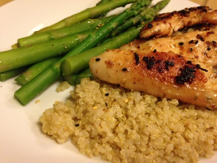 Grilled chicken, quinoa, asparagus