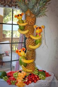 Monkeying aroundwith lots of tropical fruits