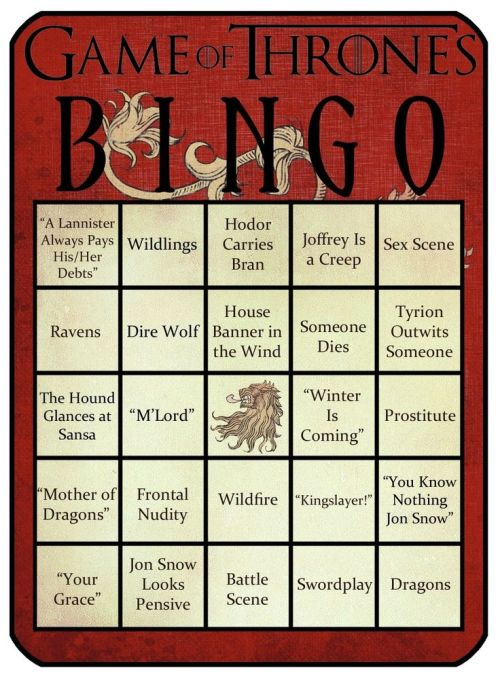 Game of Thrones bingo