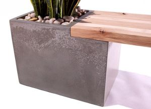 A more modern look, with a concrete planter as part of the base