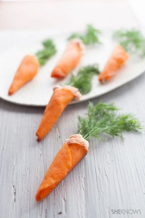 """Carrots"" with salmon mousse"