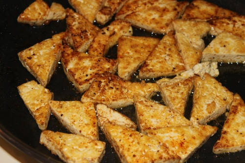 Crispy chipotle tofu triangles