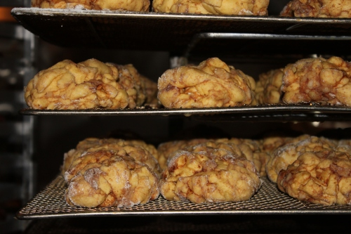 Apple fritters before the fryer and glaze