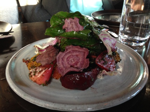 Salad of Amaranths, beet root, inca quinoa, chard and urfa biber