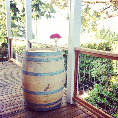 "Our wine barrel table -- the ""before"" photo"