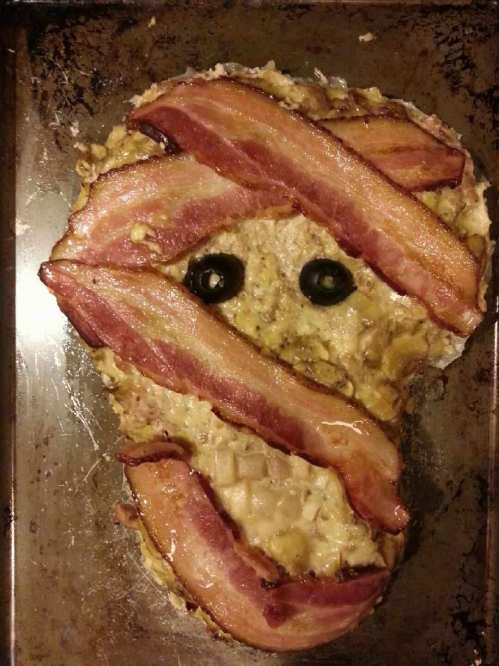 Cooked turkey meatloaf zombie