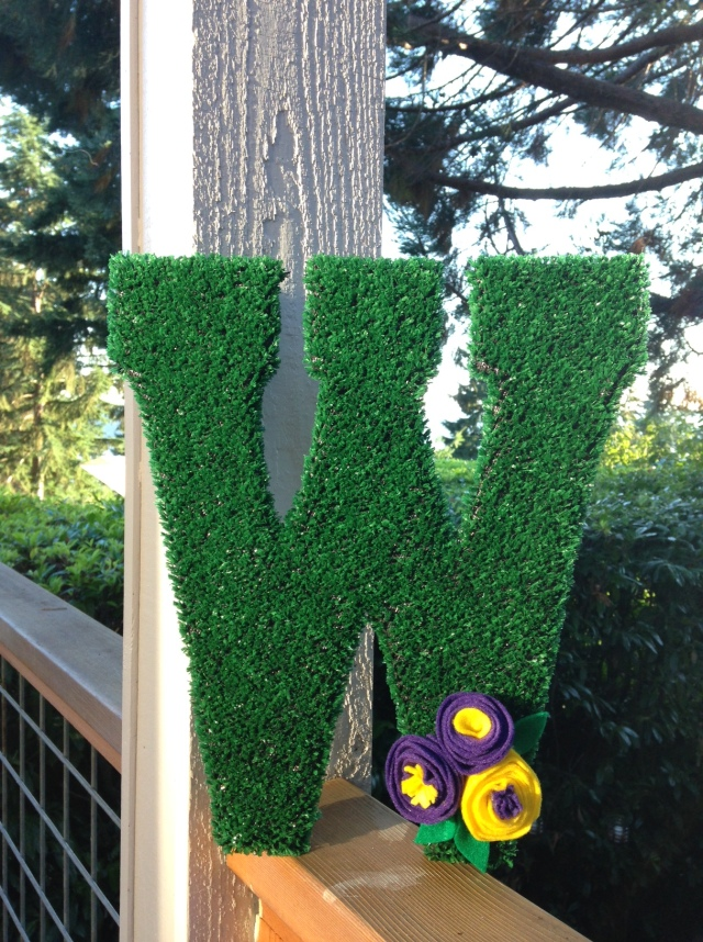 One of my most favorite crafts to date: An AstroTurf W!