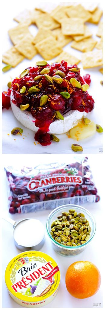 Baked briewith cranberries and pistachios