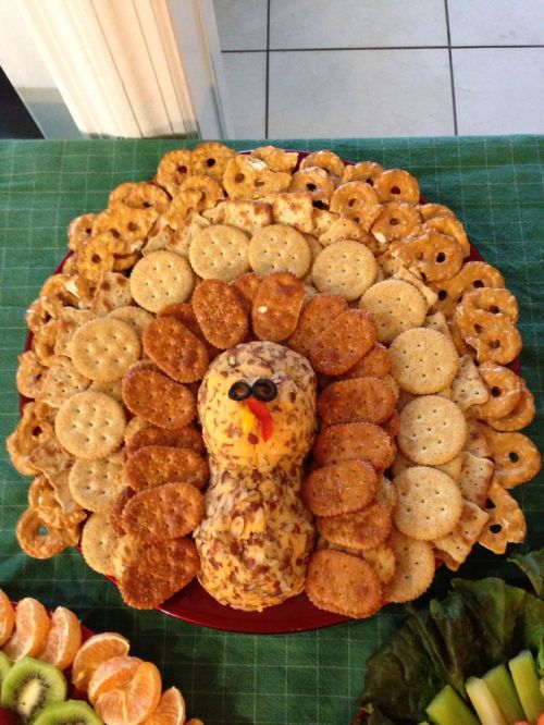 Turkey cheese and cracker platter