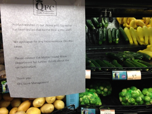 Bottle-water-washed veggies at QFC
