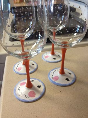Snowman wine glasses