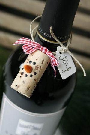 Snowman wine tag