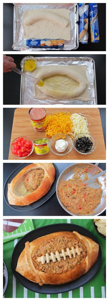 Dip in a custom football bread bowl