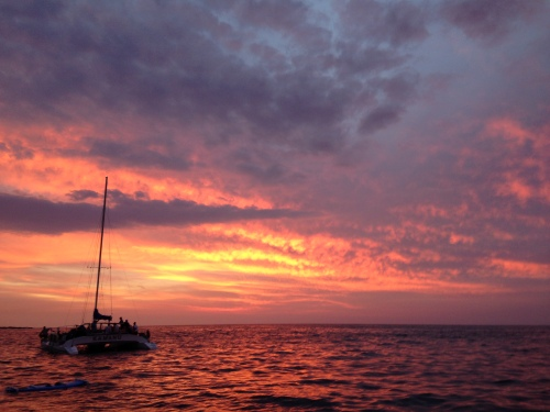 Sunset from our manta ray snorkel tour boat, outside of Kona