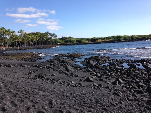 Black sand beach on the sound end of the Big Island