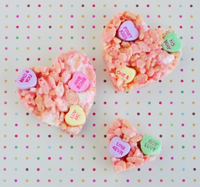 Rice Krispy treats with conversation hearts