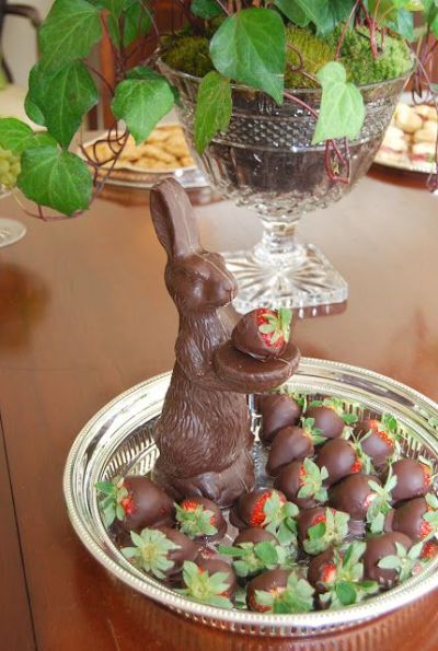 A platter of chocolate-covered strawberries