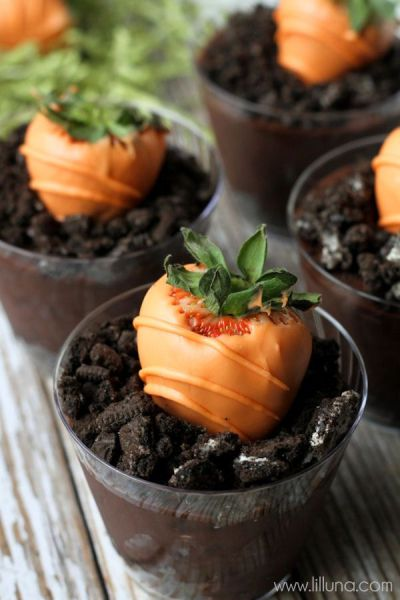 Oreos pudding cups with chocolate-covered strawberries, err, carrots