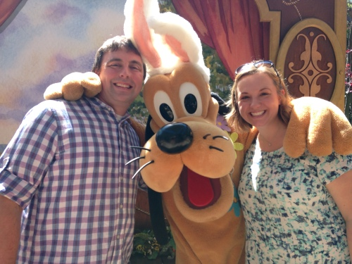 We met Pluto! (We were there just before Easter, hence the ears)