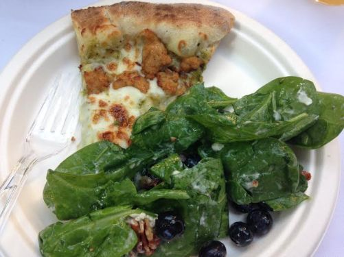 My favorite summer meal: homemade pizza oven pizza and my favorite salad dressing!