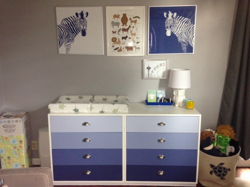 Here's the ombre dresser and changing table area.