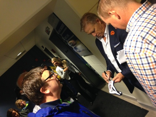 Brandon and his hero: John Elway, Bronco legend