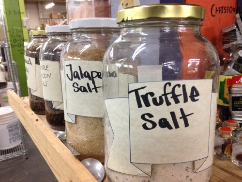 About 1 million varieties of bulk salts, including truffle salt, my favorite!