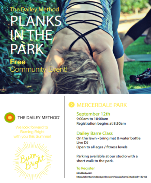 Planks in the Park -- free community barre class by the Dailey Method