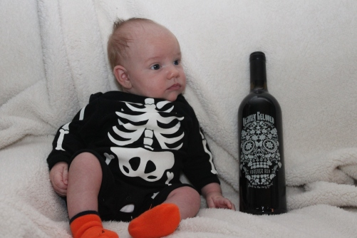 Skeleton baby & skeleton head wine!
