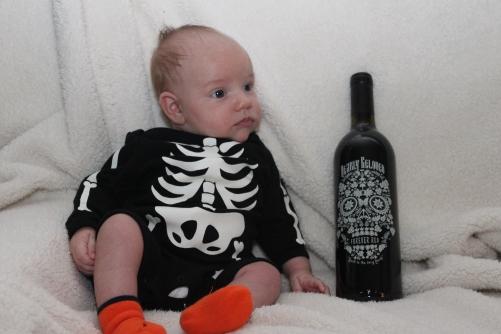 Skeleton baby & skeleton head wine!