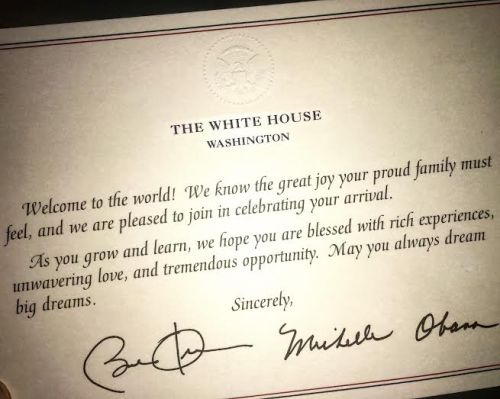 A welcome note for Michael from President and Mrs. Obama
