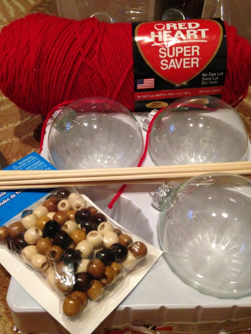 All the supplies you'll need for the yarn ball ornaments