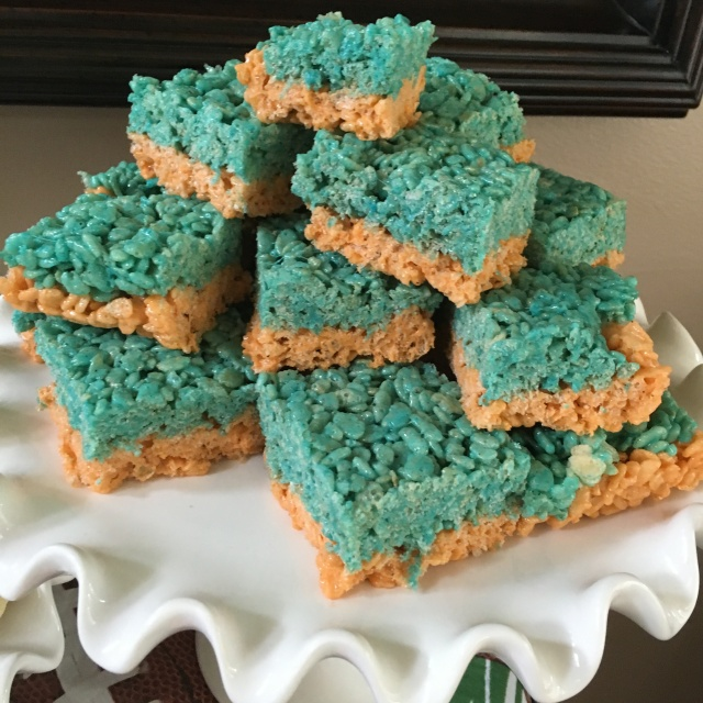 Orange and blue Bronco Rice Krispies treats