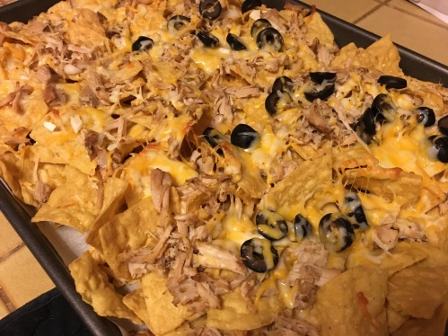 We went basic (but SO delicious): shredded pork nachos